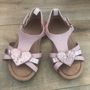 4/$25 H&M Pink Girl Sandals Heart Sz 7.5